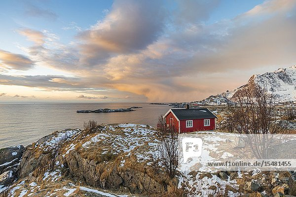 Traditional fishermen house in winter at dawn. Hamnoy  Nordland county  Northern Norway  Norway.