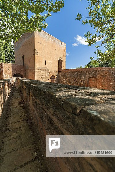 Fortified walls and tower  Generalife  La Alhambra complex  Granada  Andalusia  Spain.