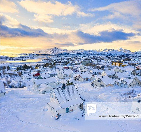 Aerial panoramic of Leknes town after a snowfall  Vestvagoy  Lofoten Islands  Norway.