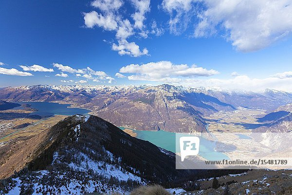 Lake Como and Valchiavenna seen from top of Monte Brusada  Sondrio province  Lower Valtellina  Lombardy  Italy.