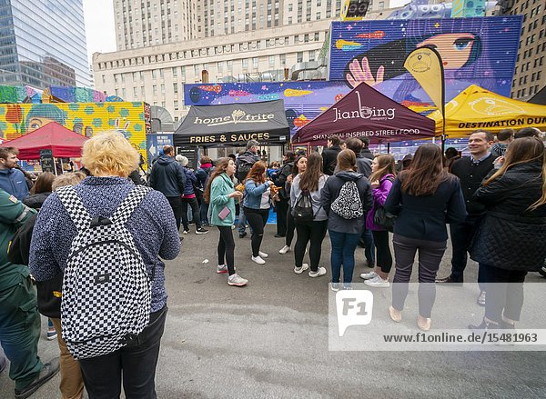 Tourists and workers in Downtown Manhattan flock to the latest iteration of the popular Smorgasburg  located outside the Oculus  on opening day Friday  August 12  2019. The marketplace features prepared and artisanal foods by small entrepreneurs. After a one-day trial run last year the popular food court will open every Friday to feed the hungry masses in Lower Manhattan until at least October. (© Richard B. Levine).