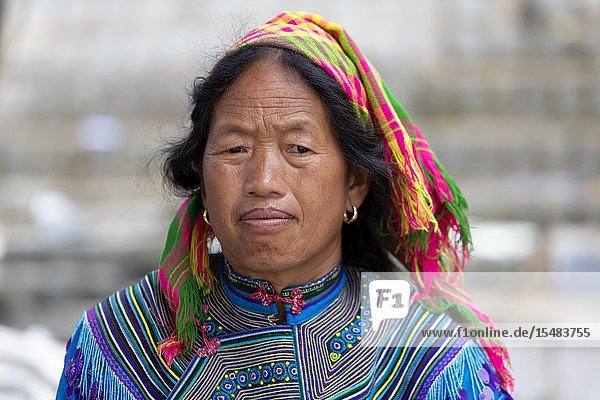 Flowers Hmong (hill tribe)  woman at the sunday market  Bac Ha  Lao Cai Province  Vietnam  Asia.