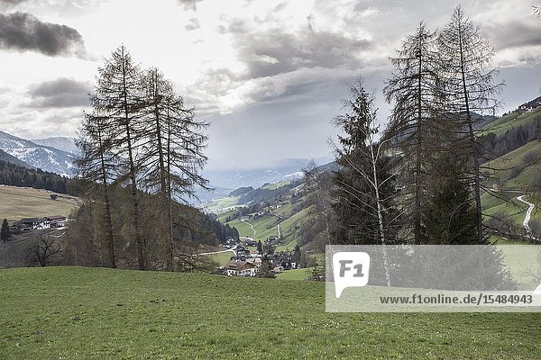 Wonderful landscape Santa Maddalena village  Dolomites  Funes valley South Tirol Italy  Europe.