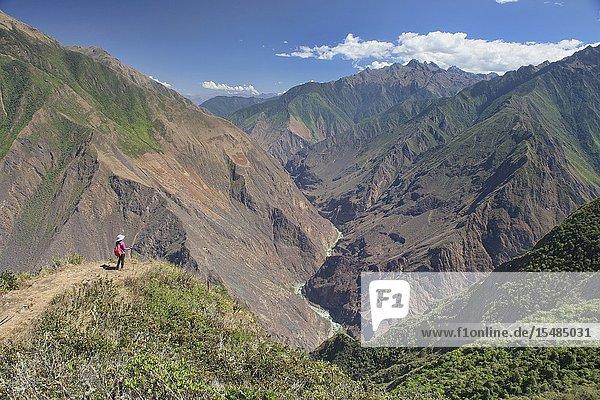 Looking into the amazing Apurimac River and canyon  deeper than the Grand Canyon  Choquequirao ruins  Santa Teresa  Peru.