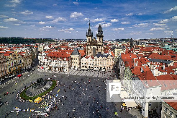 Prague Czech Republic. Aerial view of old town. The Gothic Church of Our Lady before Tyn in Old Town Square.