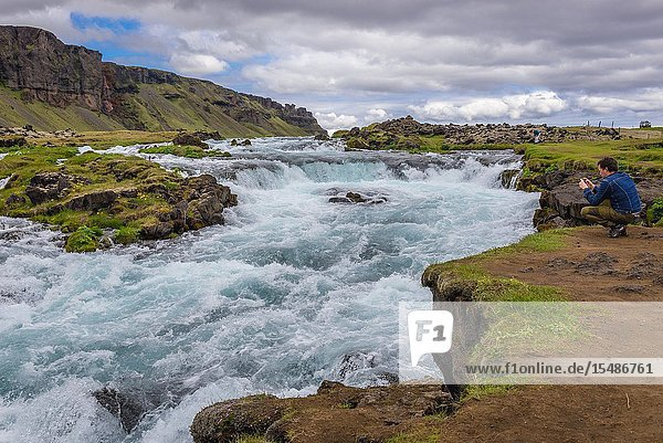 Small waterfall next to Route 1 in south part of Iceland.
