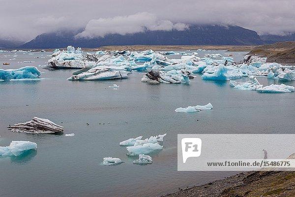 Jokulsarlon glacial lake on the edge of Vatnajokull National Park in Iceland.