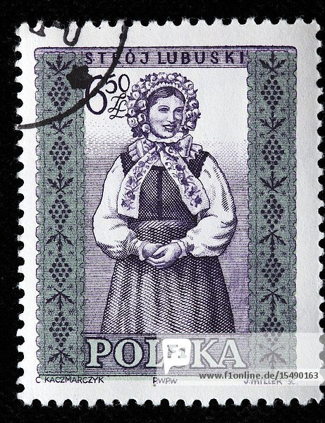 Traditional folk costume  Lubusz  postage stamp  Poland  1960.