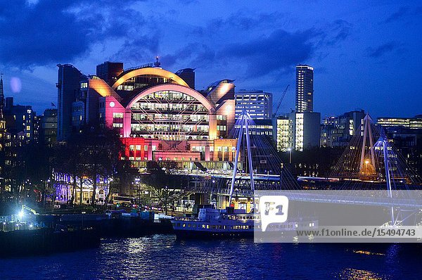 Charing Cross Railway Stations and Hungerford Bridge across the Tamesis River  London  England