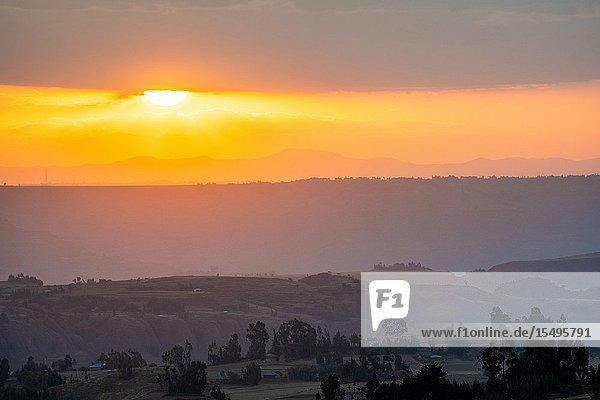 The sun setting over the mountains and valleys of Debre Berhan  Ethiopia.