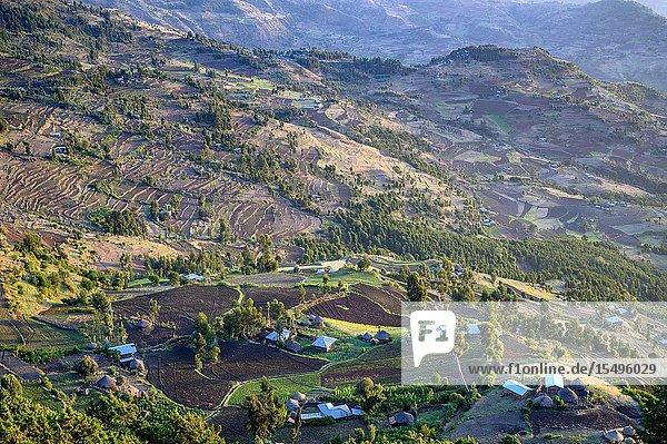 Farming communities nestled in the valleys of Ankober  Ethiopia.