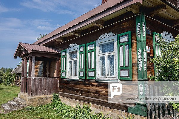 Decorated house in Soce village on so called The Land of Open Shutters trail  famous for traditional architecture in Podlaskie Voivodeship  Poland.