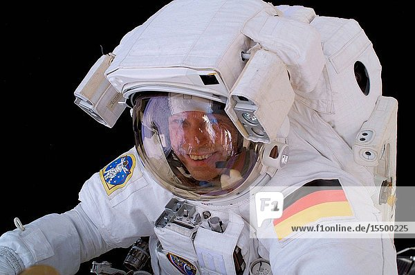 Astronaut Thomas Reiter  who represents the European Space Agency on the Expedition 13 crew  is photographed during a 5-hour  54-minute excursion which he shared with astronaut Jeffrey N. Williams (out of frame). For part of the spacewalk  the pair worked closely in tandem  and then worked separately  getting ahead of their timeline  thus enabling the two to tack on extra tasks.