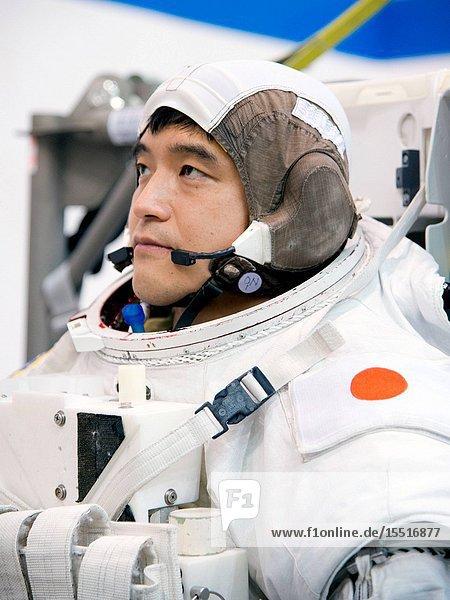 Expedition 4849 crewmember and Japan Aerospace Exploration Agency (JAXA) astronaut Takuya Onishi during training for a spacewalk (EVA) at the Johnson Space Centers Neutral Buoyancy Laboratory. JSC Photographer: James Blair