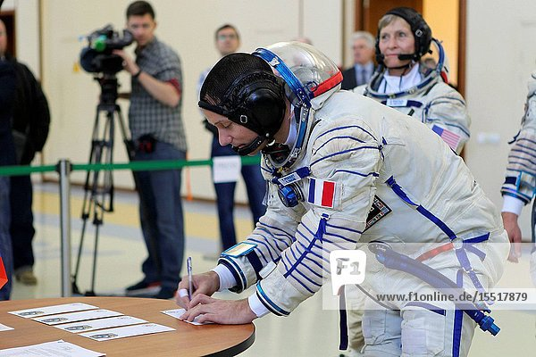 At the Gagarin Cosmonaut Training Center in Star City  Russia  Expedition 48-49 backup crewmember Thomas Pesquet of the European Space Agency signs in for Soyuz qualification exams May 26. Pesquet  Peggy Whitson of NASA and Oleg Novitskiy of Roscosmos are serving as the backups to prime crewmembers Kate Rubins of NASA  Takuya Onishi of the Japan Aerospace Exploration Agency and Anatoly Ivanishin of Roscosmos  who will launch June 24 on the Soyuz MS-01 spacecraft from the Baikonur Cosmodrome in Kazakhstan for a four-month mission on the International Space Station..NASAStephanie Stoll.