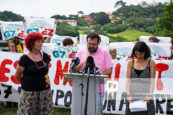 August 28  2019 - Members of G7 EZ and others groups against G7 organized a demonstration in front of Cité de l'Océan in Biarritz for the conclusion of the G7.