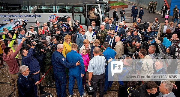 Officials  family and media gather to welcome home Expedition 48 Russian cosmonauts Alexey Ovchinin and Oleg Skripochka of Roscosmos at the Chkalovsky Airport in Star City  Russia several hours after they and NASA astronaut Jeff Williams landed their Soyuz TMA-20M spacecraft in a remote area outside the town of Zhezkazgan  Kazakhstan  on Wednesday  Sept. 7  2016 (Kazakh time). Williams  Ovchinin  and Skripochka returned after 172 days in space where they served as members of the Expedition 47 and 48 crews onboard the International Space Station. Photo Credit: (NASABill Ingalls)