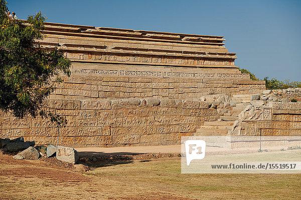 Stone relief  Mahanavami Dibba  Hampi  Karnataka  India