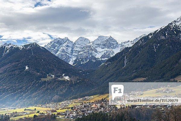 Telfes in Stubai in winter season. Europe  Austria  Stubaital  Telfes im Stubai  Innsbruck province.