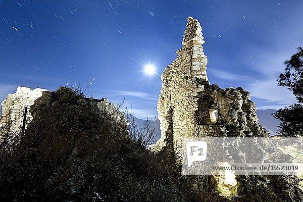 Night at medieval ruins of Penede Castle. Nago-Torbole  Trento province  Trentino Alto-Adige  Italy  Europe.