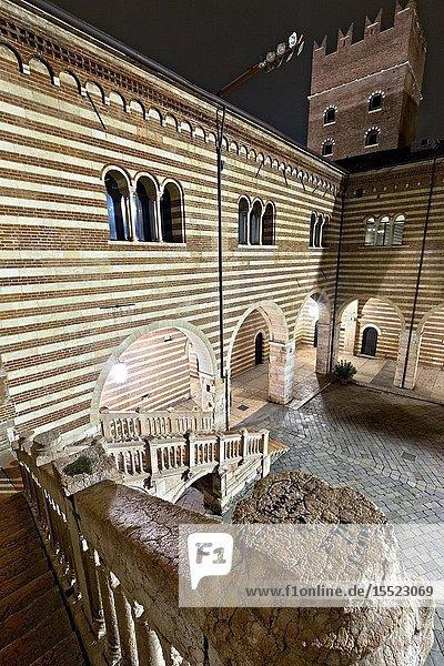 The Scala della Ragione is part of the monumental complex of Palazzo della Ragione in Verona. Veneto  Italy  Europe.