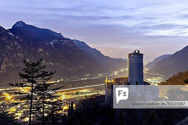 Night falls at the medieval castle of Avio. Trento province  Trentino Alto-Adige  Italy  Europe.
