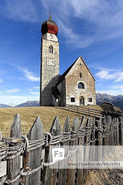 San Nicolò church at Monte di Mezzo  Renon plateau  Bolzano province  Trentino Alto-Adige  Italy  Europe.