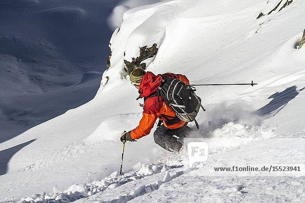 Freeride skier in Aosta Valley (Cervinia  Valtournenche  Aosta province  Aosta Valley  Italy  Europe) (MR).