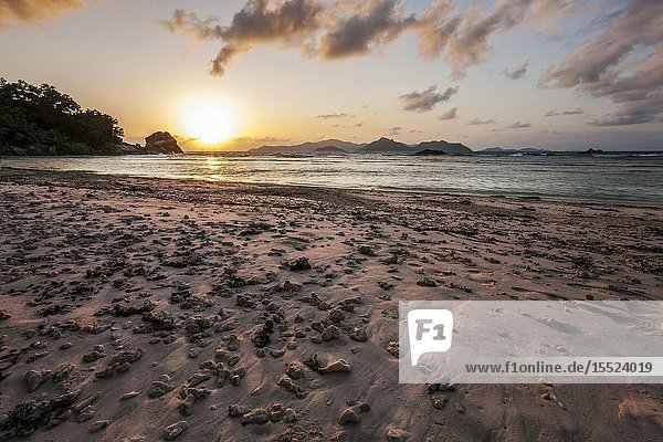 Sunset at Coral beach  La Digue  Seychelles  Indian Ocean  Africa.
