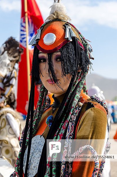 Traditional costumes at opening ceremony of the Nadaam Festival  Murun  Mongolia.