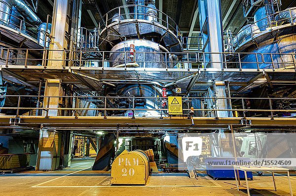 Geertuidenberg  Netherlands. Amer Centrale power plant coal and fossil fuel pulverizer  preparing the solid fuels before injection into the fire bed.