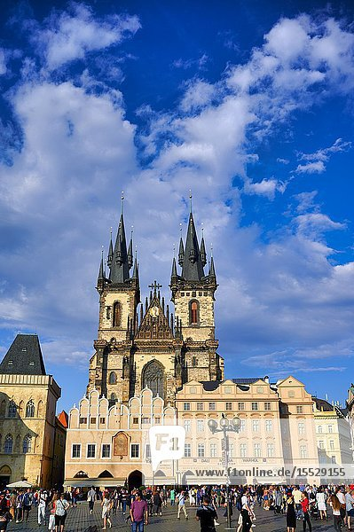 Prague Czech Republic. The Gothic Church of Our Lady before Tyn in Old Town Square.