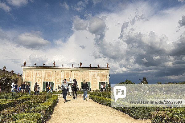 Threatening clouds above the Palazzina and Bastione del Cavaliere. Florence  Tuscany. Italy.