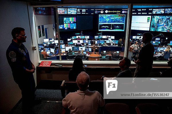 NASA Social participants  astronauts and managers participated in Houston Super Bowl festivities this week at Johnson Space Center. The NASA Social visitors also toured the Neutral Bouyancy Laboratory  the Space Vehicle Mockup Facility and the Mission Control Center. Credit: NASAJames Blair
