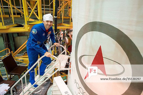 In the Integration Facility at the Baikonur Cosmodrome in Kazakhstan  Expedition 51 backup crewmember Randy Bresnik of NASA enters the Soyuz MS-04 spacecraft April 14 during a final training session. Bresnik and Sergey Ryazanskiy of the Russian Federal Space Agency (Roscosmos) are serving as backups to Fyodor Yurchikhin of Roscosmos and Jack Fischer of NASA  who will launch April 20 on the Soyuz MS-04 spacecraft for a four and a half month mission on the International Space Station. Credit: NASAGagarin Cosmonaut Training CenterAndrey Shelepin