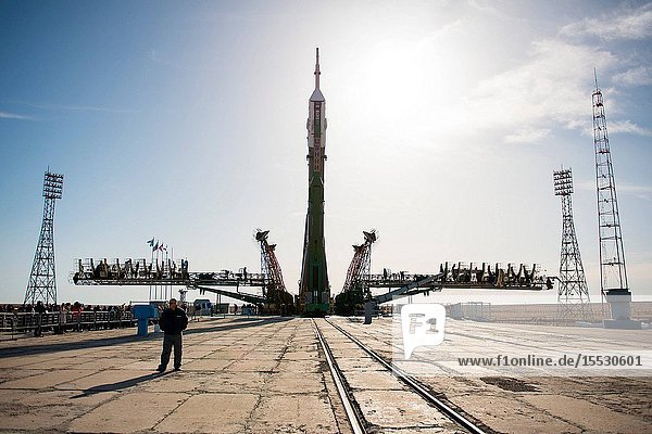 The Soyuz MS-04 spacecraft is raised into position on the launch pad Monday  April 17  2017 at the Baikonur Cosmodrome in Kazakhstan. Launch of the Soyuz rocket is scheduled for April 20 Baikonur time and will carry Expedition 51 Soyuz Commander Fyodor Yurchikhin of Roscosmos and Flight Engineer Jack Fischer of NASA into orbit to begin their four and a half month mission on the International Space Station. Photo Credit: (NASAAubrey Gemignani)