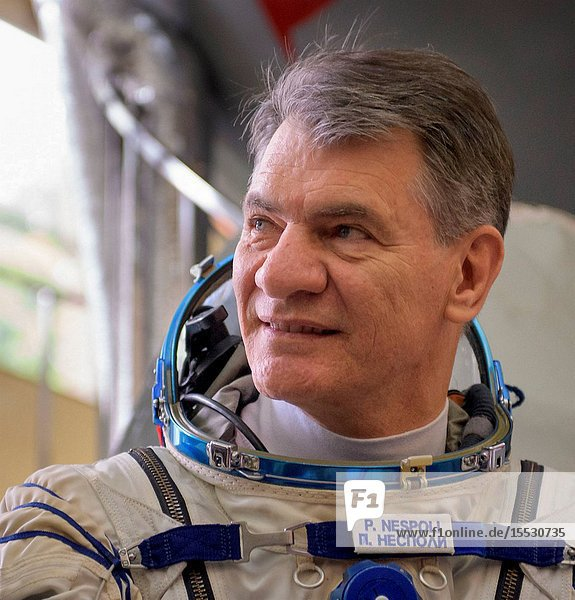Expedition 52 flight engineer Paolo Nespoli of ESA listens to questions from the press outside the Soyuz simulator ahead his final Soyuz qualification exam with fellow Expedition 52 flight engineers Sergey Ryazanskiy of Roscosmos  and Randy Bresnik of NASA  Friday  July 7  2017 at the Gagarin Cosmonaut Training Center (GCTC) in Star City  Russia. Photo Credit: (NASABill Ingalls)