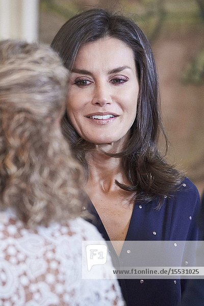 Queen Letizia of Spain attends Audience to a delegation of the Spanish Committee of Representatives of Persons with Disabilities (CERMI) at Zarzuela Palace on September 3  2019 in Madrid  Spain