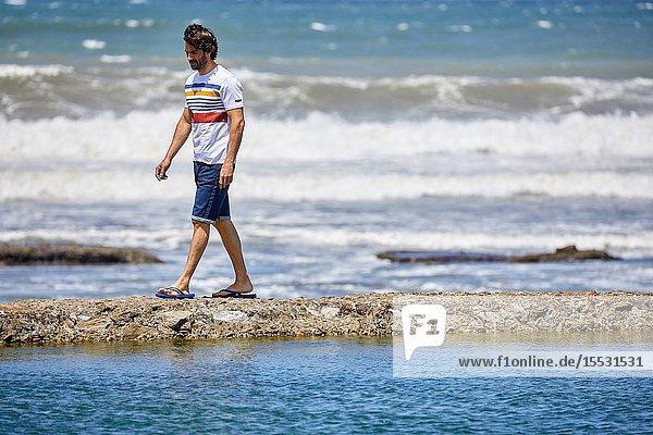 Man by the sea  Route de La Corniche  Cantabrian Sea Coast  Hendaye  Aquitaine  Basque Country  France