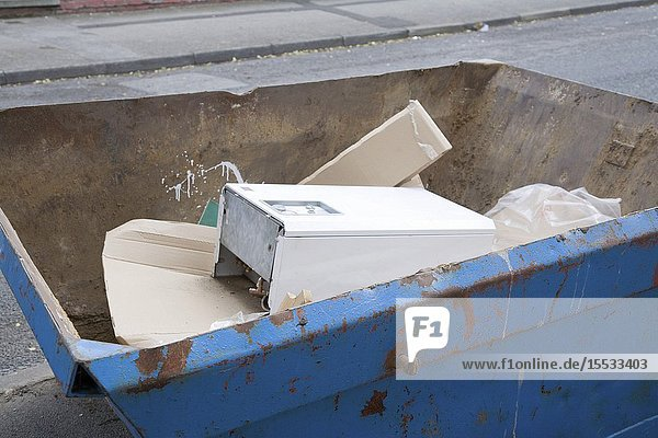 Skip full of rubbish during building work