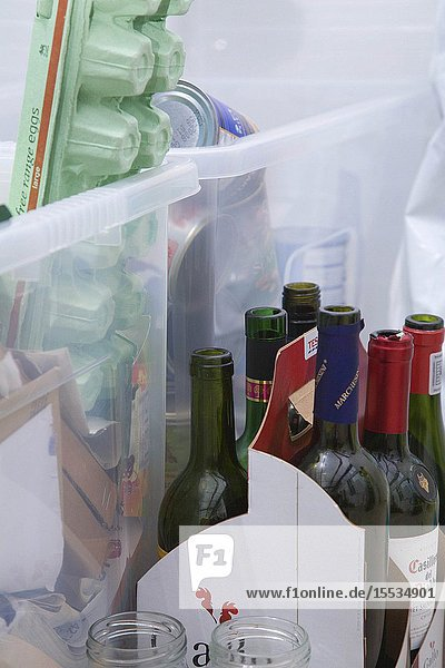 Items of household waste organised for recycling