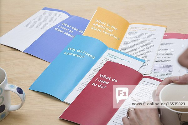 Selection of advice leaflets giving financial pension advice for planning for retirement