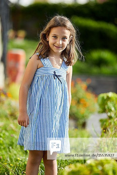 Portrait of young girl  looking at camera  Getaria  Gipuzkoa  Basque Country  Spain