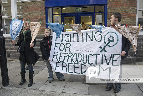 Feminist Fightback demo outside Christian Medical Foundation  CMF is pressing government to reduce the current 24 week time limit on abortions  London Jan 08