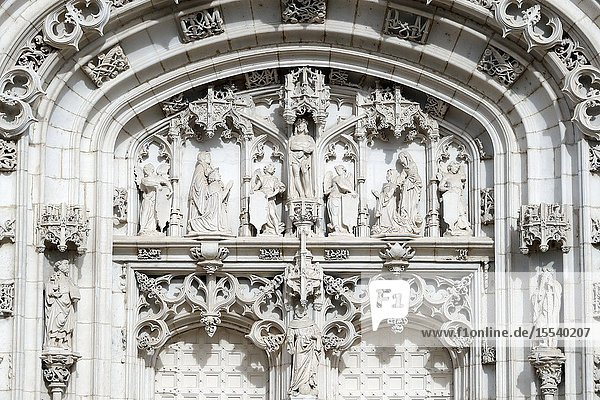 The royal monastery of Brou. The church is a masterpiece of the Flamboyant Gothic style. Western portal. Bourg en Bresse. France.
