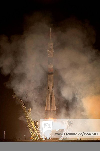 The Soyuz TMA-10M rocket launches from the Baikonur Cosmodrome in Kazakhstan on Sept. 26  2013  Kazakh time  carrying Expedition 37 Soyuz Commander Oleg Kotov  NASA Flight Engineer Michael Hopkins and Russian Flight Engineer Sergey Ryazanskiy to the International Space Station. Their Soyuz rocket launched at 2:58 a.m. local time.Carla Cioffi