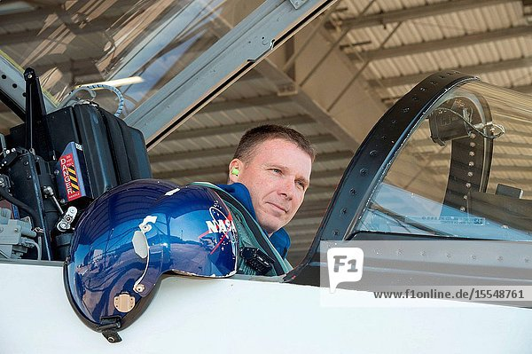 NASA astronaut Terry Virts  Expedition 42 flight engineer and Expedition 43 commander  prepares for a flight in a NASA T-38 trainer jet at Ellington Airport near NASA's Johnson Space Center.