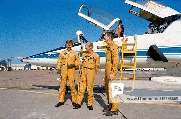 Members of the prime crew of the first manned Skylab Mission (Skylab 2) stand beside a NASA T-38 jet aircraft trainer at nearby Ellington Air Force Base prior to take off for the Kennedy Space Center  Florida. They are (left to right) astronauts Paul J. Weitz  mission pilot  Charles Conrad Jr.  commander  and scientist Joseph P. Kerwin  science pilot. The three crewmen have completed their prelaunch training at JSC.