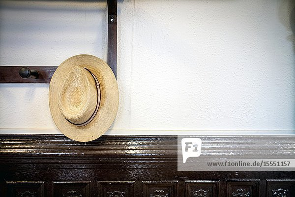 Closeup of a Panama hat hung on a coat rack Mahon  Menorca  Baleares  Spain.
