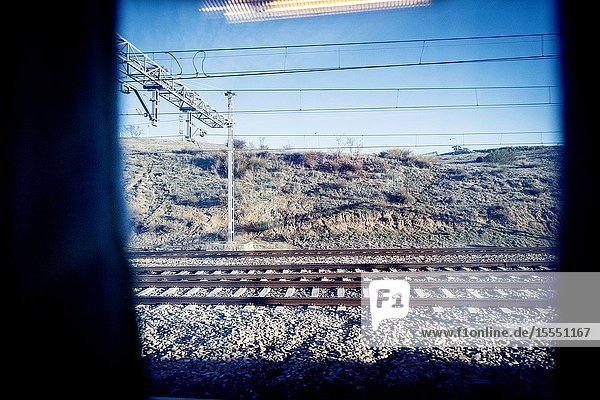 View from a train window. Spain  Europe